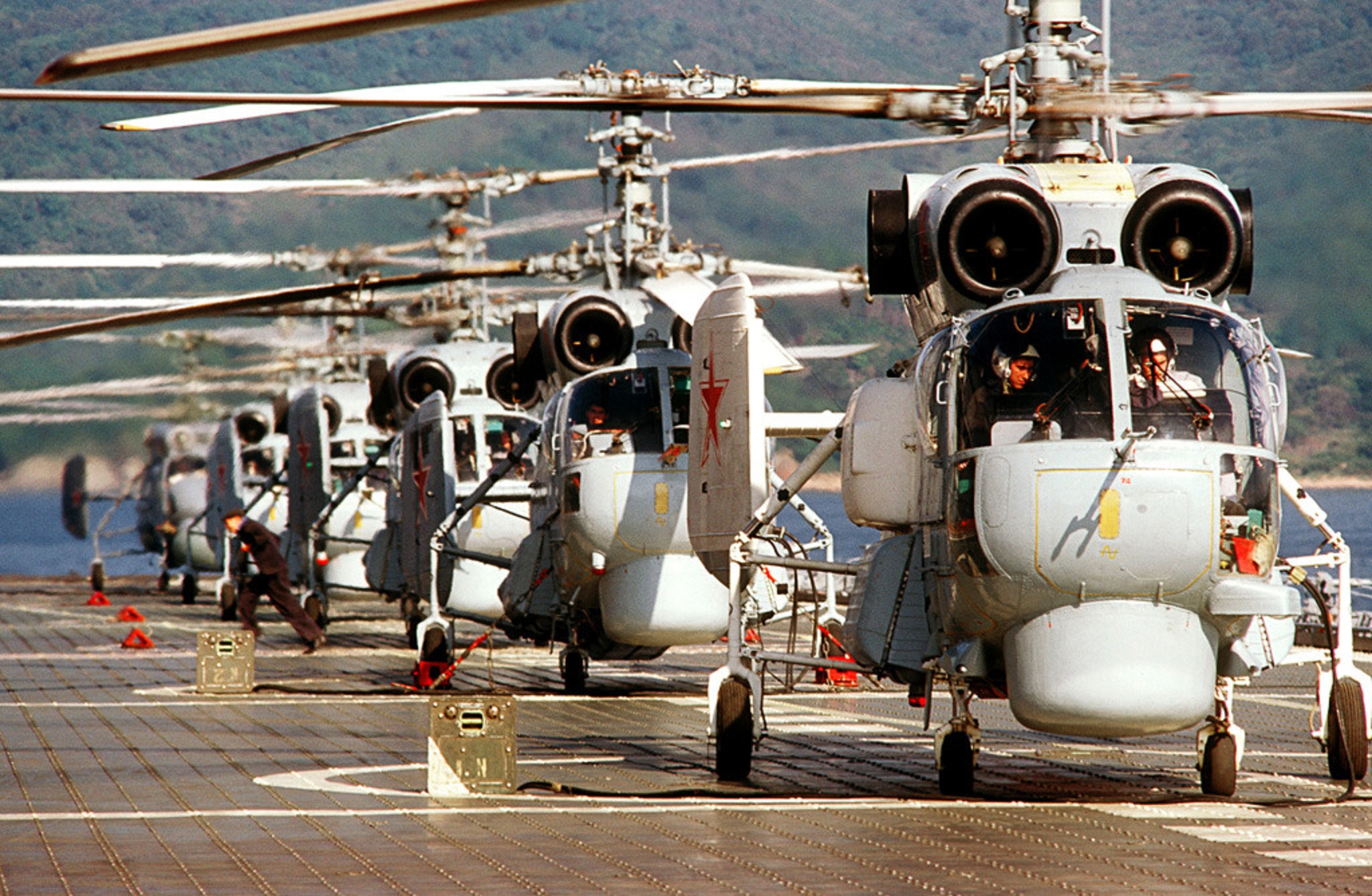 Ka-27s aboard the aircraft carrier Novorossiysk in 1984.jpg